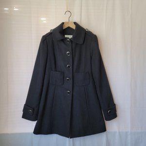 Kenneth Cole Black Wool Blend Long Hip Length Coat